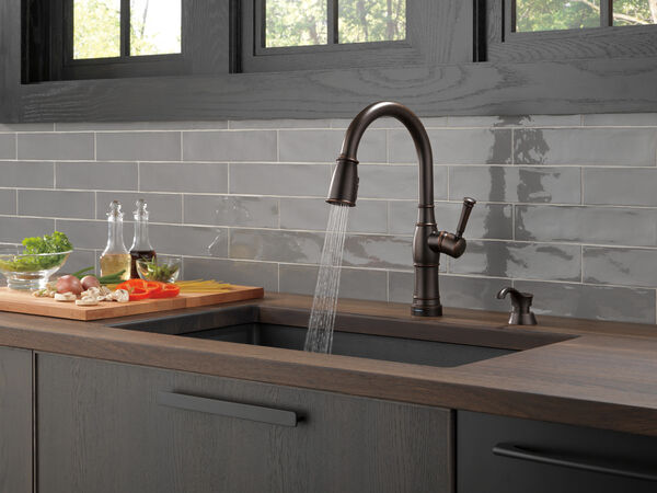 Single Handle Pull-Down Kitchen Faucet with Touch2O Technology and Soap Dispenser, image 6