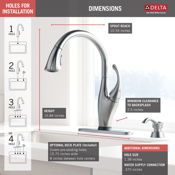 Single Handle Pull-Down Kitchen Faucet with Touch<sub>2</sub>O® Technology and Soap Dispenser, image 4