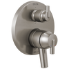 Contemporary Two Handle Monitor® 17 Series Valve Trim with 6-Setting Integrated Diverter