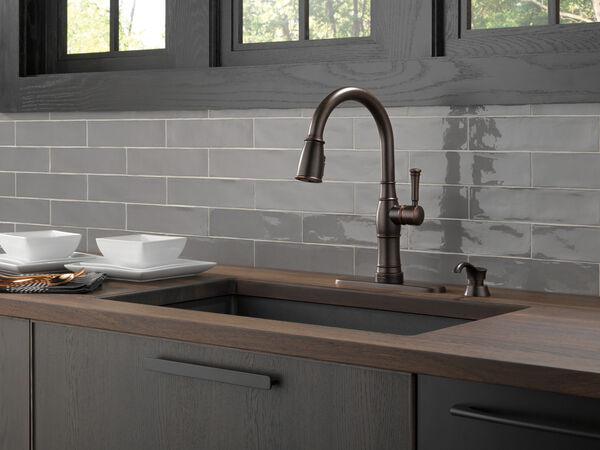 Single Handle Pull-Down Kitchen Faucet with Touch2O Technology and Soap Dispenser, image 3