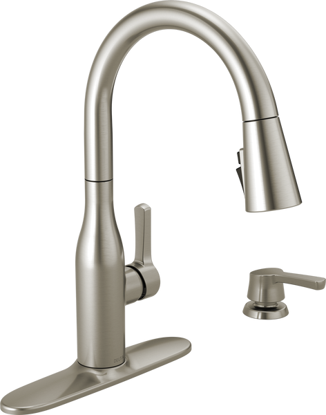 Single Handle Pull-Down Kitchen Faucet with Soap Dispenser and ShieldSpray® Technology (Recertified), image 2