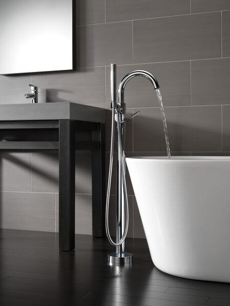 Single Handle Floor Mount Tub Filler Trim with Hand Shower, image 6