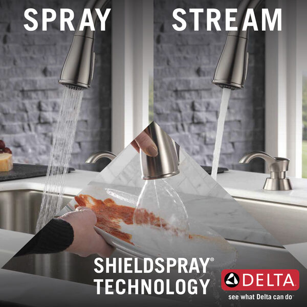 Single Handle Pull-Down Kitchen Faucet with Soap Dispenser and ShieldSpray® Technology (Recertified), image 3