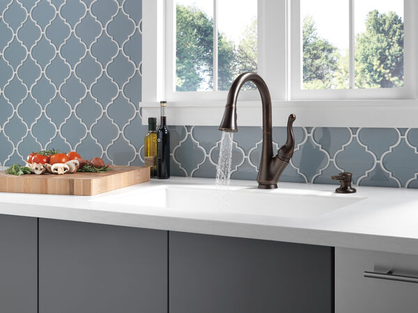 Single Handle Pull-Down Kitchen Faucet with Soap Dispenser, image 6