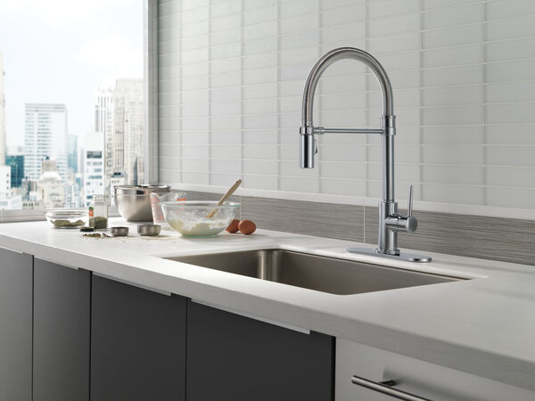 Single Handle Pull-Down Kitchen Faucet With Spring Spout, image 9