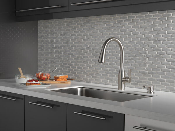 Single Handle Pull-Down Kitchen Faucet with Soap Dispenser and ShieldSpray® Technology (Recertified), image 11