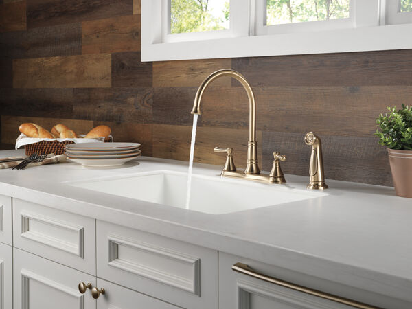 Two Handle Kitchen Faucet with Spray, image 2