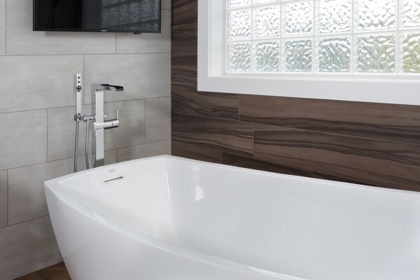 Single Handle Floor Mount Channel Spout Tub Filler Trim with Hand Shower, image 6