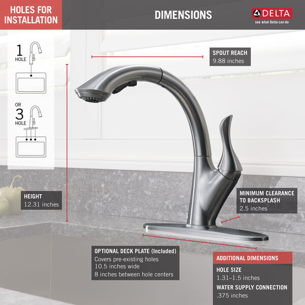 DELTA Linden Single-Handle Pull-Out Sprayer Kitchen Faucet in Arctic Stainless