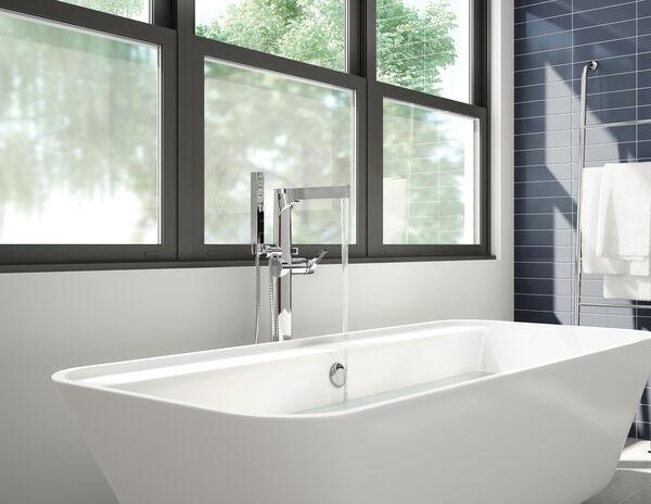 Single Handle Floor Mount Tub Filler Trim with Hand Shower, image 16