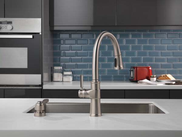 Single Handle Pull-Down Kitchen Faucet with Soap Dispenser and ShieldSpray® Technology, image 11