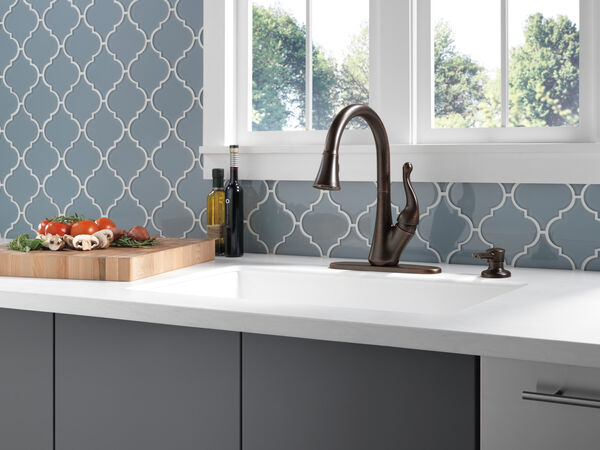 Single Handle Pull-Down Kitchen Faucet with Soap Dispenser, image 3