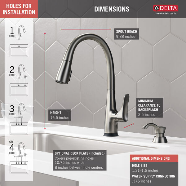 Dunsley Single Handle Pull Down Kitchen Faucet with Touch 2O and VoiceIQ Technology, image 3