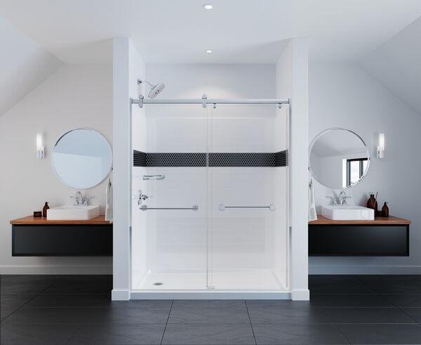 Contemporary Corner Shelf with Assist Bar, image 4