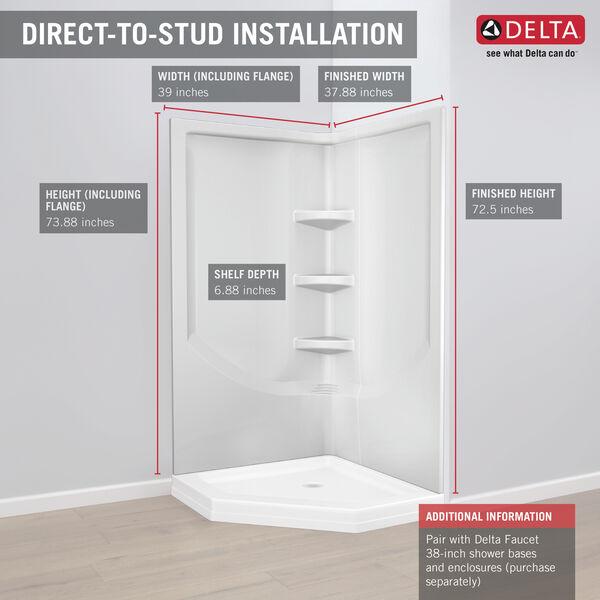 38'' Direct-to-Stud Corner Shower Wall Set, image 17