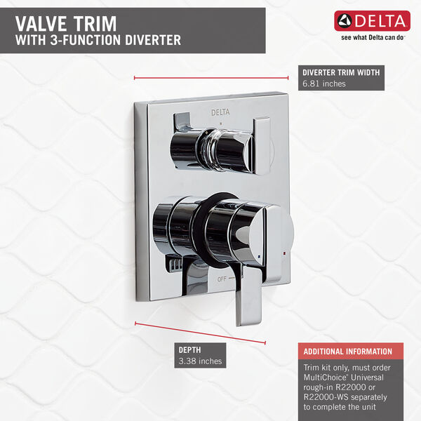 Angular Modern Monitor® 17 Series Valve Trim with 3-Setting Integrated Diverter, image 10