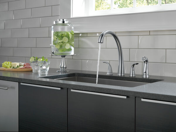 Two Handle Widespread Kitchen Faucet with Spray, image 3