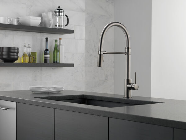 Single Handle Pull-Down Kitchen Faucet With Spring Spout, image 12