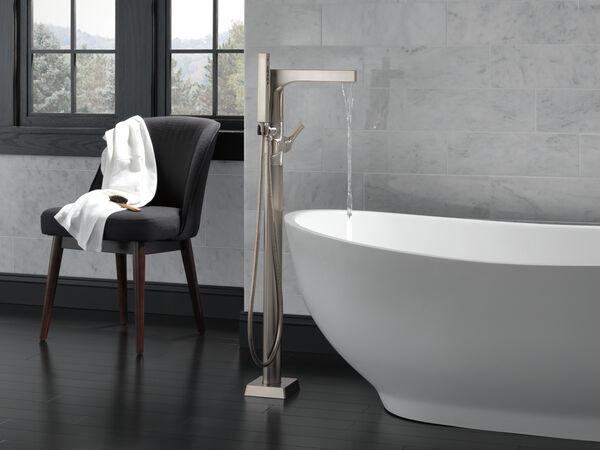 Single Handle Floor Mount Tub Filler Trim with Hand Shower, image 2
