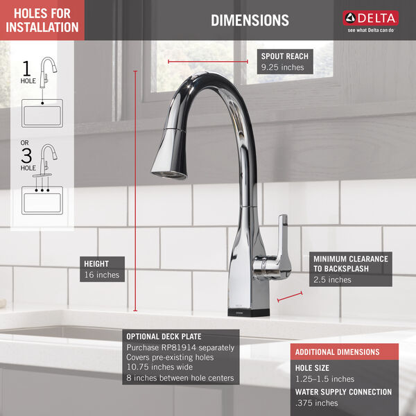 Single Handle Pull-Down Kitchen Faucet with Touch<sub>2</sub>O® and ShieldSpray® Technologies, image 3