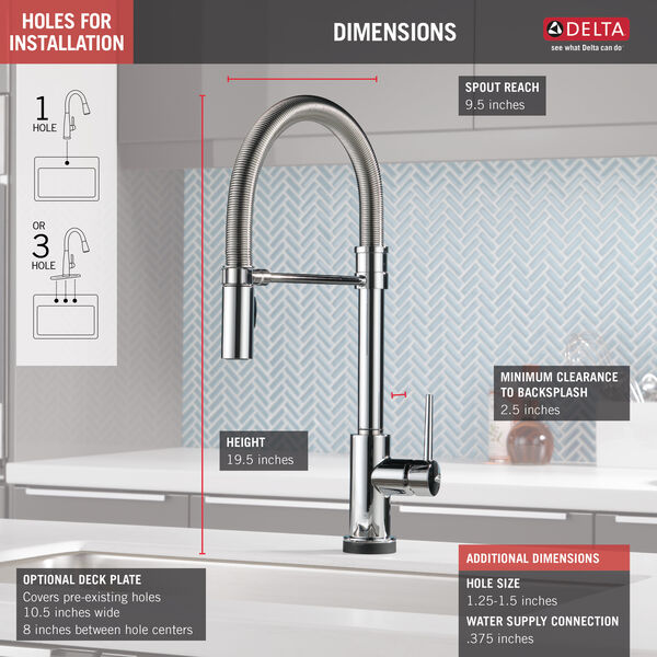 Single Handle Pull-Down Spring Spout Kitchen Faucet with Touch<sub>2</sub>O® Technology, image 3