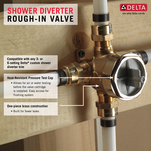 Delta R11000 3 Port  Six Function Diverter Valve Rough In Shower Multichoice
