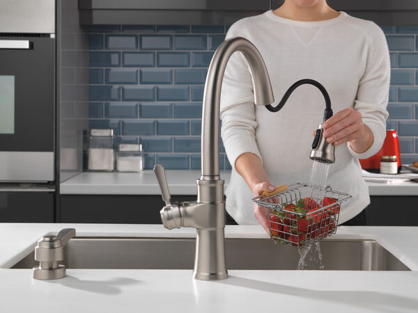 Single Handle Pull-Down Kitchen Faucet with Soap Dispenser and ShieldSpray® Technology, image 5