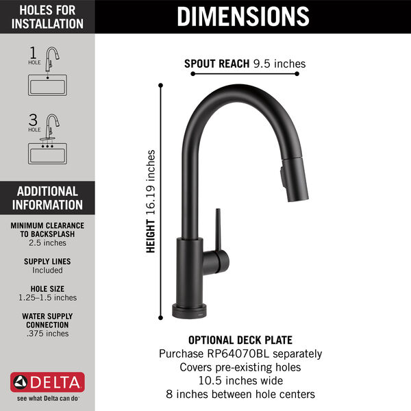 Single Handle Pull-Down Kitchen Faucet with Touch<sub>2</sub>O® Technology, image 2