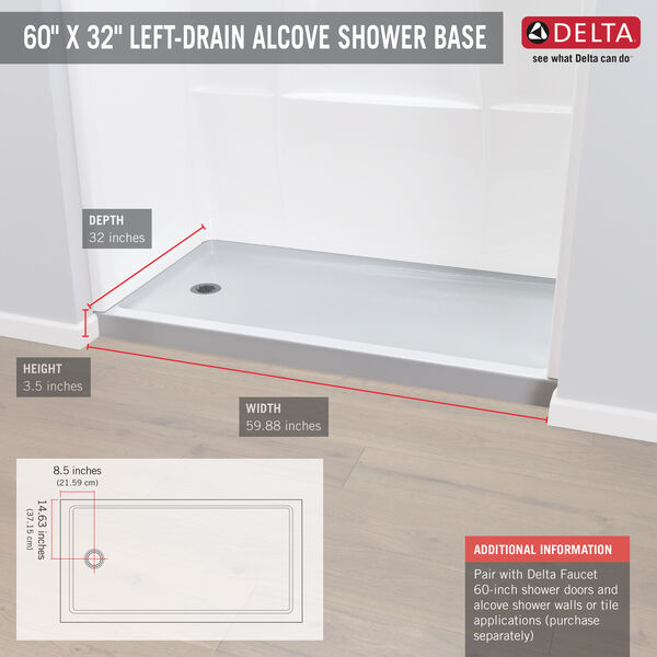 "ProCrylic™ 60"" x 32"" Shower Base Left Drain, image 3"