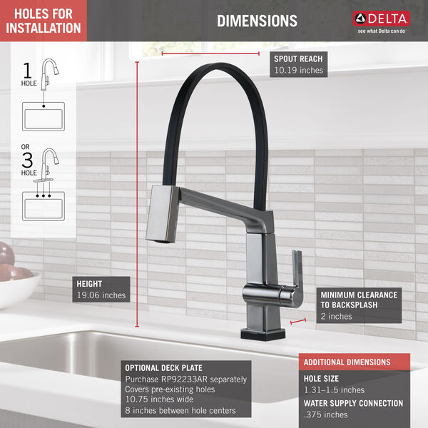 Single Handle Exposed Hose Kitchen Faucet with Touch2O Technology, image 3