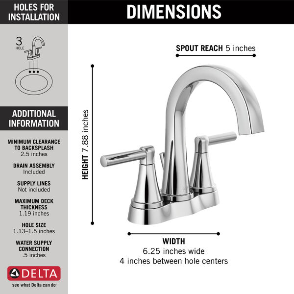 Two Handle Centerset Bathroom Faucet, image 2