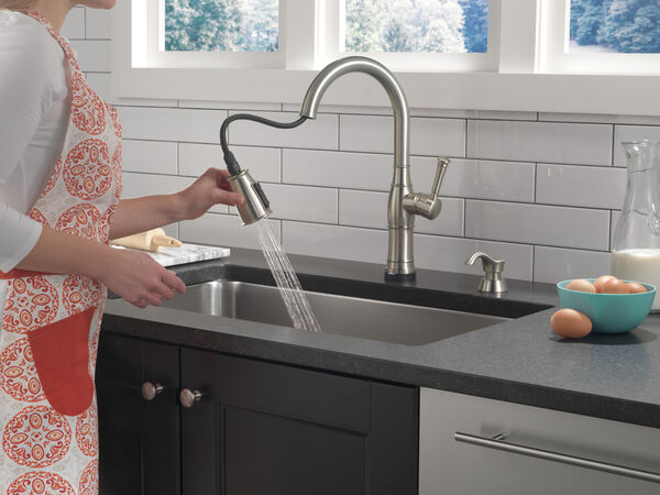 Single Handle Pull-Down Kitchen Faucet with Touch2O Technology and Soap Dispenser, image 11