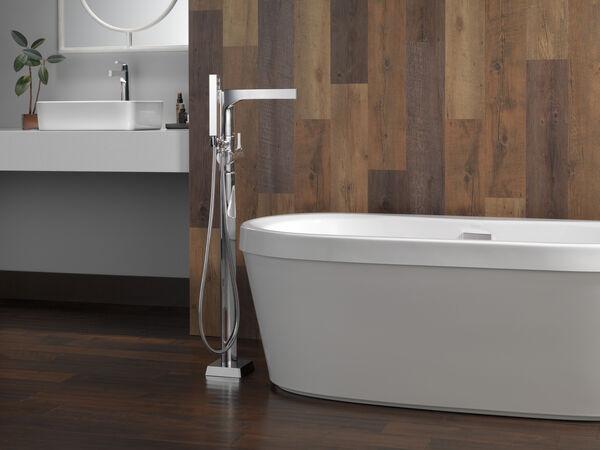 Single Handle Floor Mount Tub Filler Trim with Hand Shower, image 10