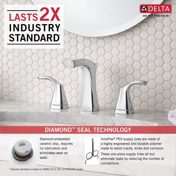 Two Handle Widespread Bathroom Faucet - Metal Pop-Up, image 4
