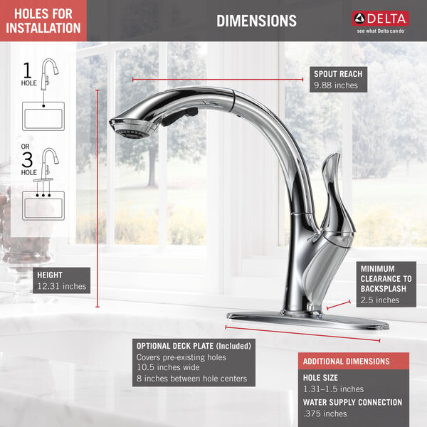 Single Handle Water Efficient Pull-Out Kitchen Faucet, image 5
