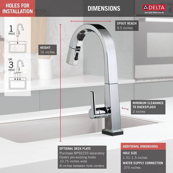 Single Handle Pull Down Kitchen Faucet with Touch<sub>2</sub>O® Technology, image 2