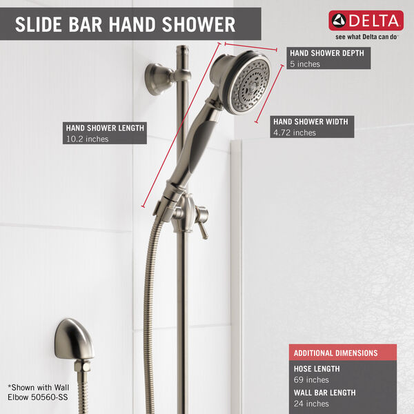 Premium 3-Setting Slide Bar Hand Shower, image 3