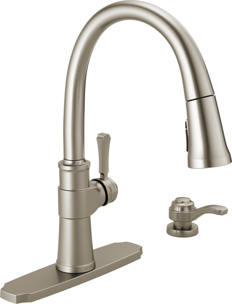 Single Handle Pull-Down Kitchen Faucet with Soap Dispenser and ShieldSpray® Technology, image 2