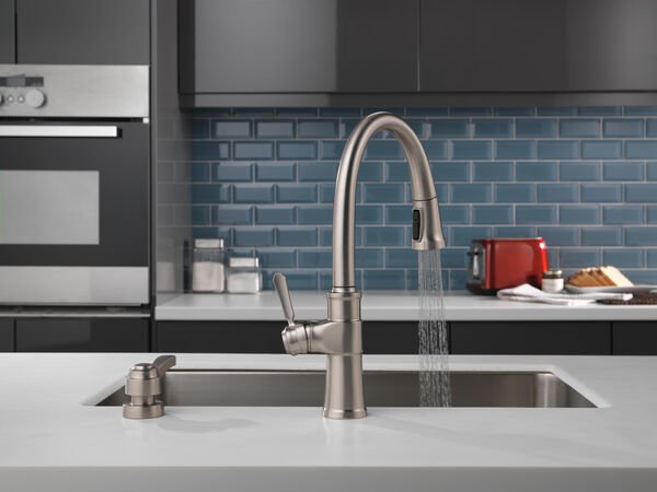 Single Handle Pull-Down Kitchen Faucet with Soap Dispenser and ShieldSpray® Technology, image 7