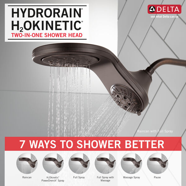 HydroRain® H<sub>2</sub>Okinetic® In2ition® 5-Setting Two-in-One Shower, image 8
