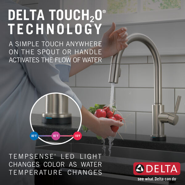 Single Handle Pull-Down Kitchen Faucet with Touch2O® Technology and Soap Dispenser, image 12