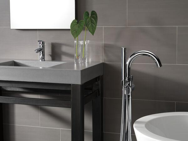 Single Handle Floor Mount Tub Filler Trim with Hand Shower, image 5