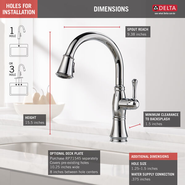 Single Handle Pull-Down Kitchen Faucet with ShieldSpray® Technology, image 3