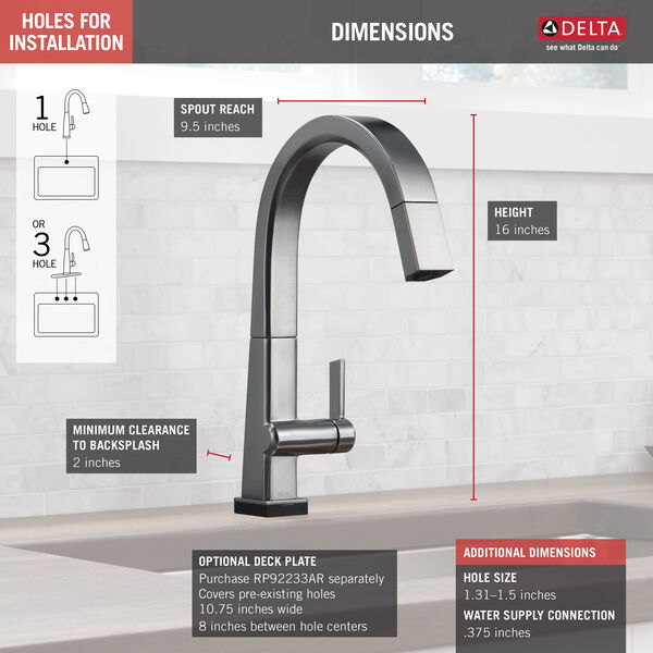 Single Handle Pull Down Kitchen Faucet with Touch2O® Technology, image 2