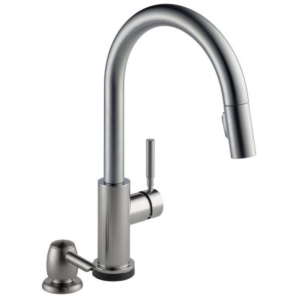 Single Handle Pull-Down Kitchen Faucet with Touch2O® Technology and Soap Dispenser, image 1