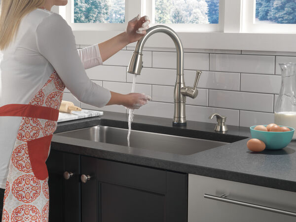 Single Handle Pull-Down Kitchen Faucet with Touch2O Technology and Soap Dispenser, image 10