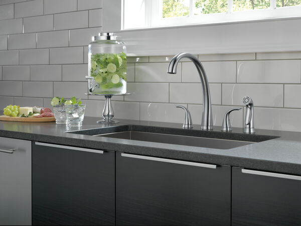 Two Handle Widespread Kitchen Faucet with Spray, image 4