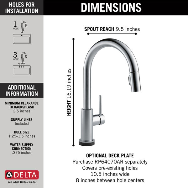 Single Handle Pull-Down Kitchen Faucet with Touch<sub>2</sub>O® Technology, image 16