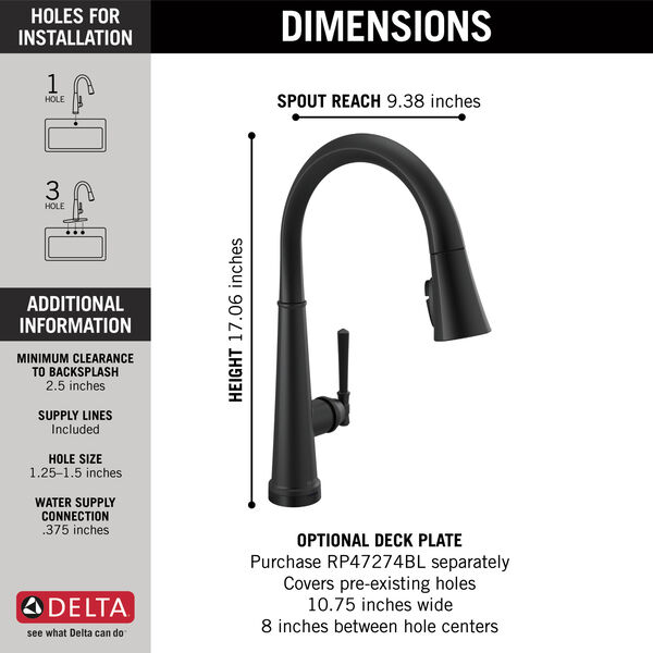 Single Handle Pull Down Kitchen Faucet with Touch2O Technology, image 11