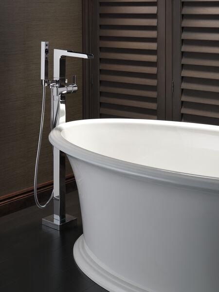 Single Handle Floor Mount Channel Spout Tub Filler Trim with Hand Shower, image 9